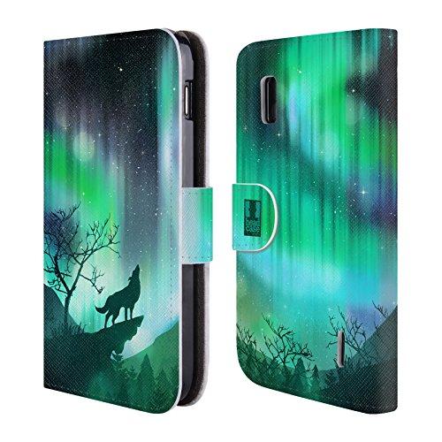 Head Case Designs Heulender Wolf Grün Nordlichter Brieftasche Handyhülle aus Leder für LG Nexus 4 - 4 Grün Case Ipod
