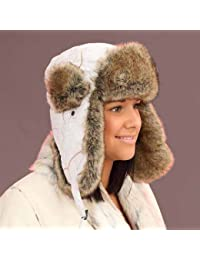 New Womens Quilted Microfibre Shell With Faux Fur Trim Trapper Style Hat. Fully Quilted Lining. A Warm Winter Thermal Hat AW108. 57cm White
