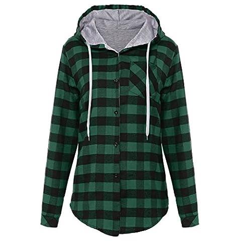 MIOIM® Women Hoodies Cotton Autumn Winter Coat Long Sleeve Plaid