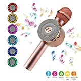 NEXGADGET Micrófono Karaoke Bluetooth, Micrófono Inalámbrico Portátil con Altavoz y LED Luz, Compatible con Android/iOS, PC, AUX, TF Card, Memoria USB,para Cantar, Escuchar Musica etc.