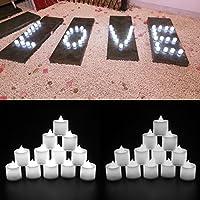 24 LED Bougies sans flamme bougies à LED belle décoration de maison lot de 24 bougies en plastique une couleur tranquille et douce pour les fêtes mariages soirée anniversaire camping Blanche