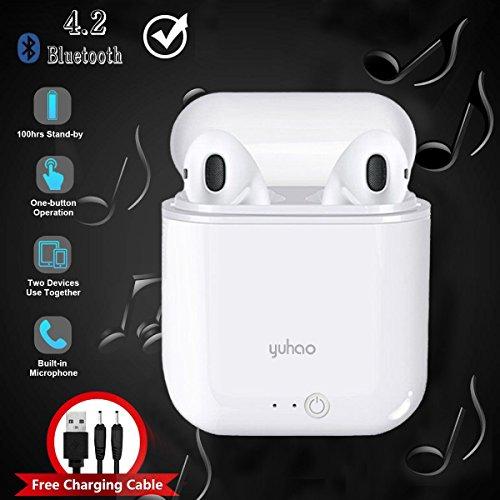 Auriculares Bluetooth, Mini Auriculares Inalámbricos con Micrófono Auriculares Intrauditivos Inalámbricos para iPhone X/8/7/7 Plus/6s/6s Plus y Samsung Galaxy S9/S8/S7 - Yuhao