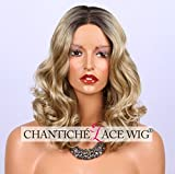 Chantiche 2017 Fashion Blonde Lace Front Wig Short Synthetic Hair Curly Wigs for White Women Natural Looking Ombre Dark Roots Mixed Blonde Hair with P