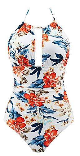 B2prity Damen Badeanzug Retro Tief V Ausschnitt Rückenfrei Neckholder Bauchweg Monokini Bademode (Druckblume 15, L (EU 38-40)) - Badeanzüge Für Damen