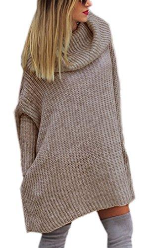 Mikos* Modischer Kuschelig Pulli mit ROLLKRAGEN Lässig Pullover Sweater Longshirt Tunika Strickpullover Oversize S M L (624) (Beige)