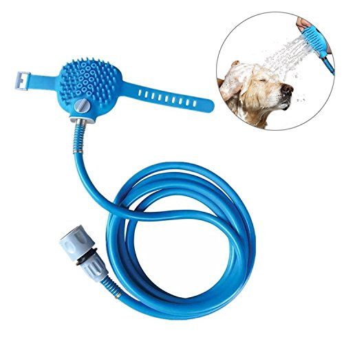 CuccioloFelice - Hundebadegerät | Haustier Dusche Sprayer und Scrubber in-One, Dusche Badewanne und Garten im Freien kompatibel Schlauch, Hundepflege