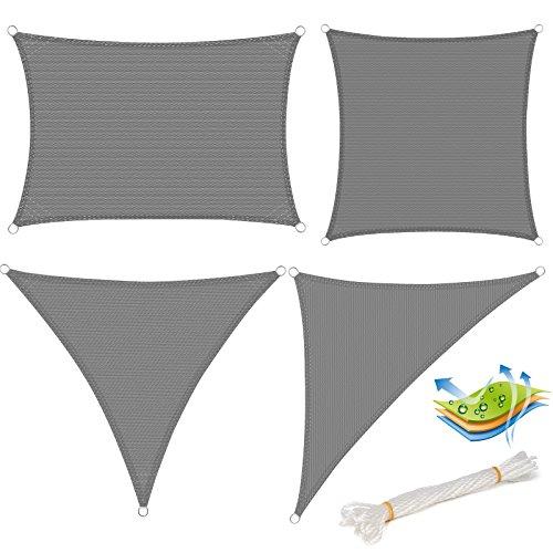 WOLTU GZS1188gr11 Voile d'ombrage triangulaire perméable à l'air protection contre le soleil HDPE avec protection UV pour jardin terrasse camping,3x3x3m Gris