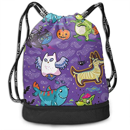 n Ghostly Star Cat Owl Dog Bat Pumpkin Drawstring Bag for Men & Women - Cinch Backpack Sackpack Tote Sack with Wet & Dry Compartments for Travel Hiking Gym ()