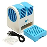 GIGGLE Mini Fan & Portable Dual Bladeless Small Air Conditioner Water Air Cooler Powered by USB & Battery Use of Car/Home/Office