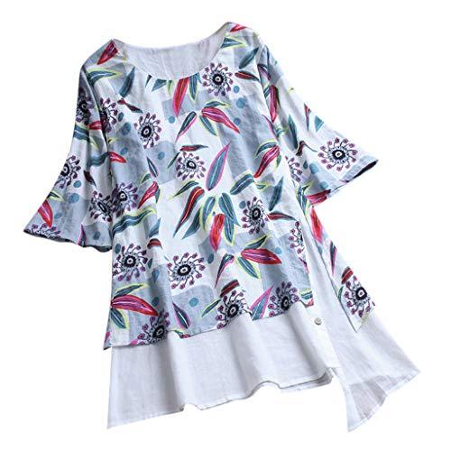 MRULIC Damen Fledermaus Hemd Lässig Locker Top Dünnschnitt Bluse Frühling T-Shirt Leinenbluse Freundin(C3-Weiß,EU-36/CN-S)