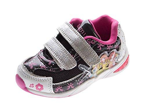 Crianças Sapatilha Marca Velcro Menina Baixos Calçado Desportivo Sapatos Gr. 22-27 Preto E Fúcsia