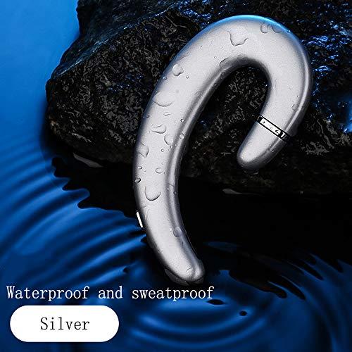 YUXIAO Nicht Ohrstöpsel Bluetooth Wireless Headset mit Mikrofon Nicht-In-Ear Geräuschlose Mini-Kopfhörer Painless Wear Sport-Kopfhörer für iPhone und Android Smartphones,Silver
