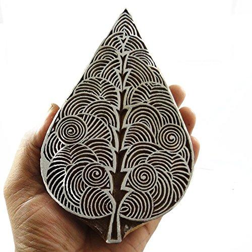 Blatt-Muster-Druck-Block Kunst auf der Sammlerwand-Papier Ethnische Holz Stempel