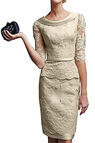 Gorgeous Bride Modisch Kurz Brautkleider Etui Lang Aermel Satin Tuell Spitze Hochzeitskleider -44...