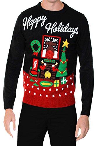 Erwachsene Threadbare Designer Neuheit Leuchtend 3D Weihnachten-jumper Happy Holidays - schwarz