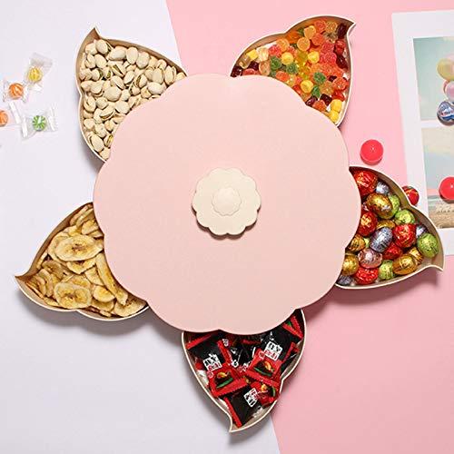 XOSHX Blütenblatt Obstteller Süßigkeiten Lagerung Grid Nut Snack Tray Rotating Flower Food Geschenkbox Party Snack Tray Set