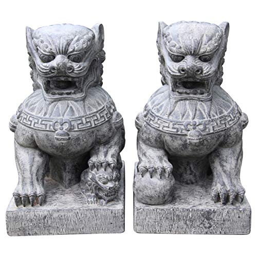 Ciffre 2 er Set Chinesischer Löwe ca. 50cm ca. 40 Kilo Antik Look Massiv Steinfigur Skulptur Feng Shui Garten Deko Wetterfest Lawa Steingus