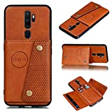 ACHICOO for OP/PO A9 2020/Realme XT/Reno 2 Mobile Phone Shell Classic Textured Pattern Buckle Closure Design Anti-Fall Smartphone Case Brown OP/PO A9 2020