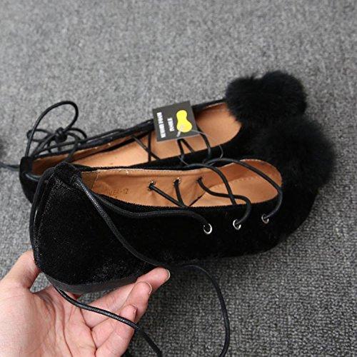 &qq Chaussures pour femmes sauvages, sandales en daim, chaussures de ballet pointues, dentelles plates chaussures plates 37.5