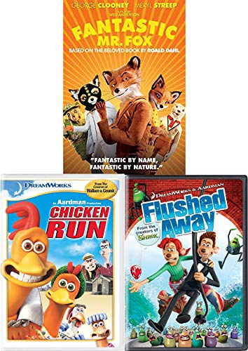 F is For Fox Sly Fantastic Mr. Fox Wes Anderson + Chicken Run & Flushed Away Nick Parks DVD Dreamworks Triple Animated Family Fun Set