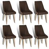 ESTEXO 6X Retro Esszimmerstühle Stoffbezug braun Küchenstühle Stühle Esszimmer