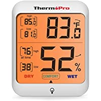 ThermoPro TP53 Termómetro Higrometro Termohigrómetro Monitor de Humedad y Temperatura para Interior