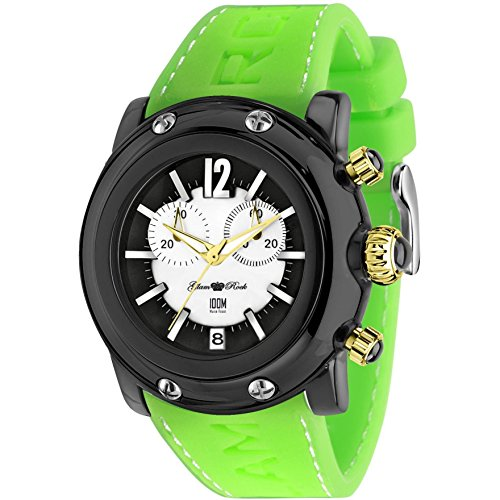 Glam Rock Unisex Miami Beach 46mm Green Silicone Band Polycarbonate Case Quartz Black Dial Watch GR25141