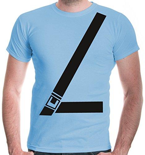 buXsbaum Herren T-Shirt Anschnallgurt | Sicherheitsgurt Seatbelt Gurt Sicherheit Auto | L, Blau (Auto Kostüm Weihnachten)