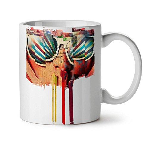 Wellcoda Gesicht Sonnenbrille Jahrgang Keramiktasse, Post - 11 oz Tasse - Großer, Easy-Grip-Griff, Zwei-seitiger Druck, Ideal für Kaffee- und Teetrinker