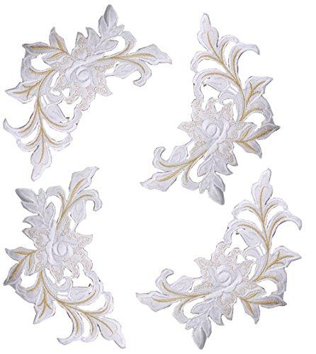 4Pcs bestickt Pfingstrose Blumen Patch Floral Applique annähen Patch Abzeichen für Spitze Stoff Kleidung DIY Handwerk Supply Zubehör (Stoff Schuhe Blume)