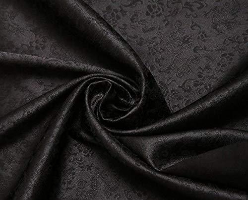 FidgetGear 1 Meter von der Yard Weicher Brokat Tapisserie-Satin Stoff 119,4 cm in 10 Farben Schwarz -