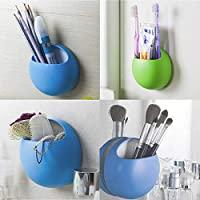 likkas Home Bathroom Toothbrush Wall Mount Holder Sucker Suction Cups Organizer Pure Color Plastic Wall Suction Bathroom Sets