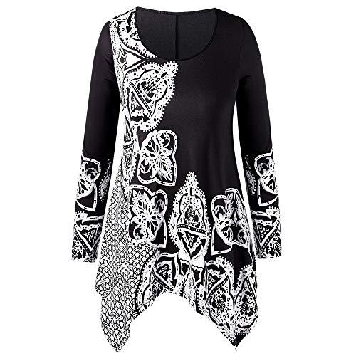 Toamen camicetta donna moda taglie forti o-collo top t-shirt girocollo manica lunga stile etnico stampa stitching capispalla irregolare(nero,x-large)