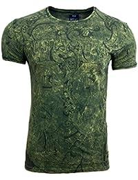 T-Shirt Kurzarm Herren Rundhals Stone Washed Optik Batik Shirt RN-16767, Größe:XL, Farbe:Grün