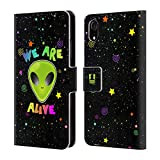 Head Case Designs We Are Alive Alien Brieftasche Handyhülle aus Leder für iPhone XR