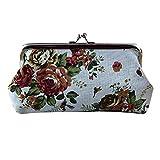 Vovotrade® Femmes Lady Rétro Vintage Fleur Petit Portefeuille Hasp Sac à Main d'embrayage Sac de Voyage Cosmétiques (Blanc)