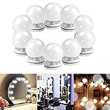 Hollywood Lampe de Miroir, Azurex 10 LED Lumière Imperméable IP65 Lampe pour Salle de Bain Blanc Froid 6500K Lumière Réglable Courtoisie pour Maquillage