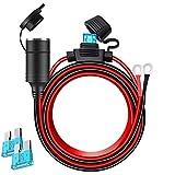 16AWG 6FT KFZ Verlängerungskabel für Zigarettenanzünder Buchse 12V/24V 15A mit Ösen Terminal Netzteil Kabel für Auto Power Inverter