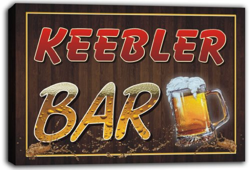 scw3-020348-keebler-name-home-bar-pub-beer-mugs-stretched-canvas-print-sign