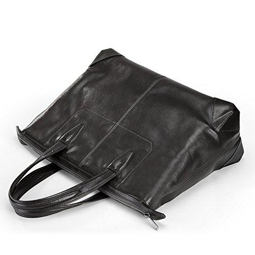 Herren Aktentasche-Leder- Businesstasche (Dunkel Grau) Dunkel Grau