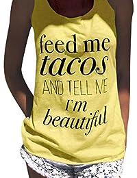 Tefamore Impresión de la letra de las mujeres Top sin mangas atractivo del tanque Tops del chaleco Camiseta de la blusa