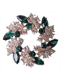 Or Ton vert Olivine Fleurs Floral médaillon de roue de broche en cristal autrichien br95