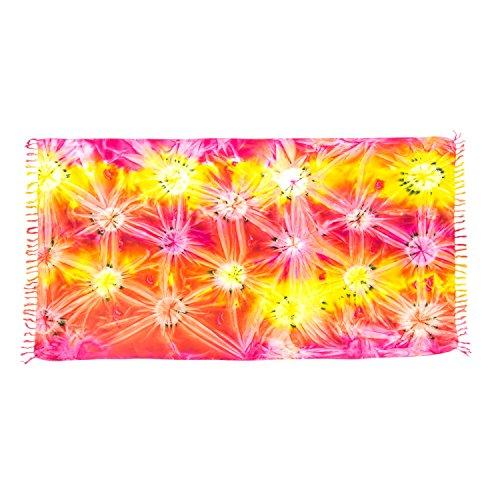 ManuMar Damen Sarong   Pareo Strandtuch   Leichtes Wickeltuch mit Fransen-Quasten (L: 115 x 225 cm, Pink Rot Gelb Orange)