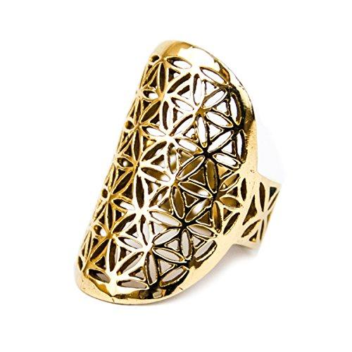 Schmuck Ring Blume des Lebens aus Messing, Ø 30mm, Damen Fingerring Symbol Lebensblume offen mit Schmucksäckchen (Blume Ring Gold)