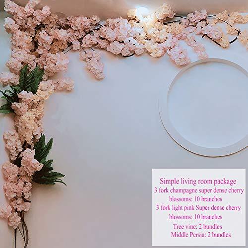 LBHE Kunstblume Champagner Hellrosa Kirschblütenbaum Gefälschte Reben Blumen für Hochzeitsfeier Wohnkultur Seide Sakura Blumen,A -