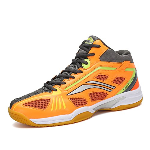 katliu Herren Damen Badmintonschuhe Indoor Hallensportschuhe Squashschuhe Outdoor Sport Tennis Schuhe Mesh Atmungsaktiv Turnschuhe Kinder Orange, 42 EU