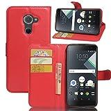 Wrcibo Blackberry DTEK 60 Hülle, Wrcibo Flip Case Cover PU Schutzhülle Tasche Leder Brieftasche Hülle mit Magnetverschluss und Karte Halter für Blackberry DTEK 60 (Rot)