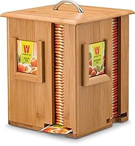 Support à thé en bambou 4compartiments écran Teabag Organiseur de stockage, boîte à thé en bois en bambou 100% naturel–Idée cadeau. par Bambusi