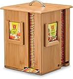 Bambus-Tee-Box mit 8Fächer und Deckel, Organizer für 160Kräutertee Beutel, 100% natürlicher Bambus, durch bambüsi