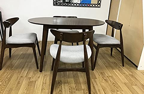 7Star® Solid Wooden Retro Dark Walnut Dining Table and 4